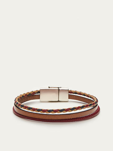 THREE-TONE TRIPLE LEATHER BRACELET