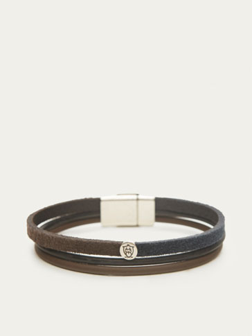 TRIPLE BAND LEATHER BRACELET WITH SPLIT SUEDE DETAIL
