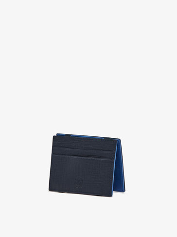 LEATHER MAGIC WALLET CARD HOLDER WITH CONTRASTING DETAIL
