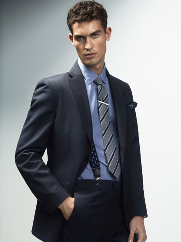 SLIM FIT NAVY BLUE TEXTURED WOOL BLAZER