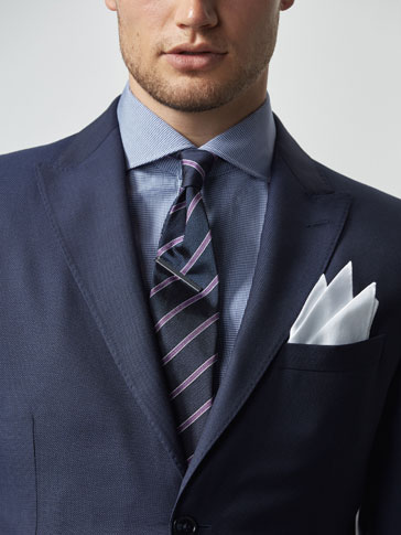 SLIM FIT BLUE TEXTURED WEAVE WOOL BLAZER