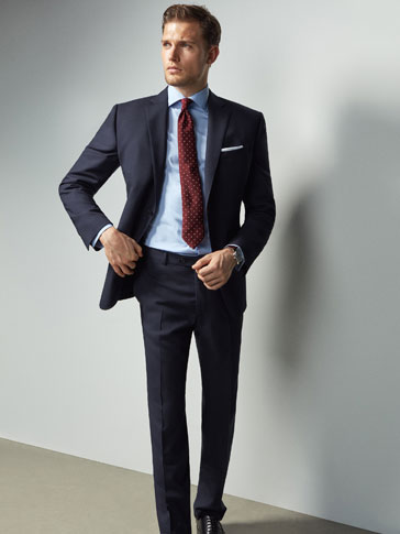 SLIM FIT NAVY BLUE FIL À FIL WOOL BLAZER