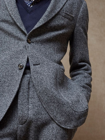 LIMITED EDITION SLIM FIT HERRINGBONE WOOL BLAZER