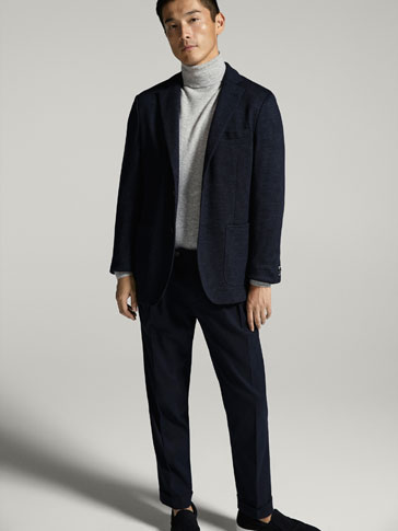 COTTON AND WOOL CIRCULAR BLAZER