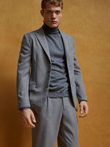 LIMITED EDITION SLIM FIT GREY WORSTED WOOL BLAZER
