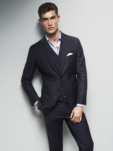 NAVY WOOL SLIM FIT BLAZER