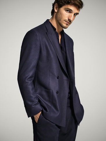NAVY BLUE DOUBLE-BREASTED WOOL BLAZER