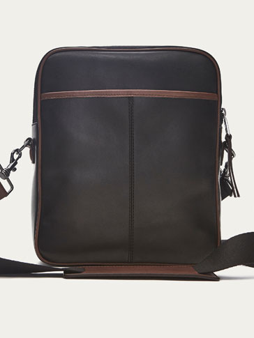 LEATHER CROSSBODY BAG WITH CONTRASTING DETAIL