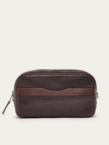 COMBINED BRAIDED LEATHER TOILETRY BAG