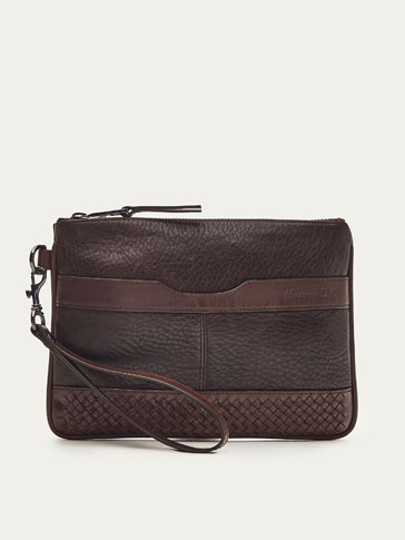 COMBINED BRAIDED LEATHER CLUTCH