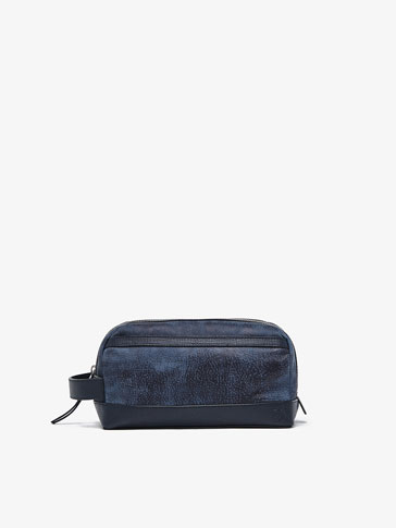 EMBOSSED LEATHER TOILETRY BAG WITH CONTRASTING DETAIL