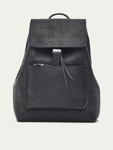 LIMITED EDITION CONTRASTING HERRINGBONE LEATHER BACKPACK