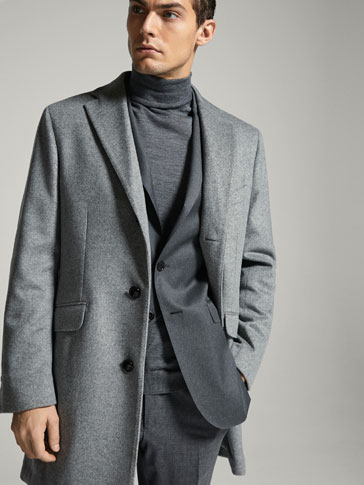 LIMITED EDITION SLIM FIT GREY WOOL/CASHMERE COAT