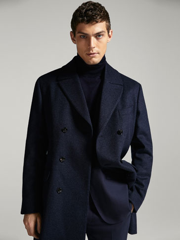 LIMITED EDITION SLIM FIT NAVY BLUE WOOL/CASHMERE COAT