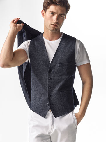 SLIM FIT TEXTURED WEAVE KNIT WAISTCOAT
