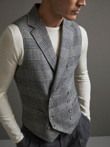 LIMITED EDITION SLIM FIT CHECKED WOOL WAISTCOAT