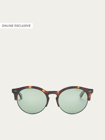 ROUND SUNGLASSES WITH TORTOISESHELL FRAME