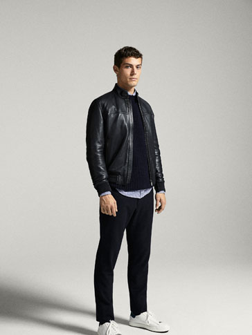 NAPPA LEATHER BOMBER JACKET WITH TECHNICAL DETAILS
