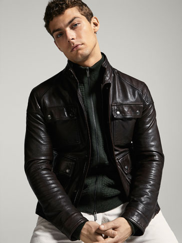 SHADED NAPPA LEATHER JACKET WITH POCKETS