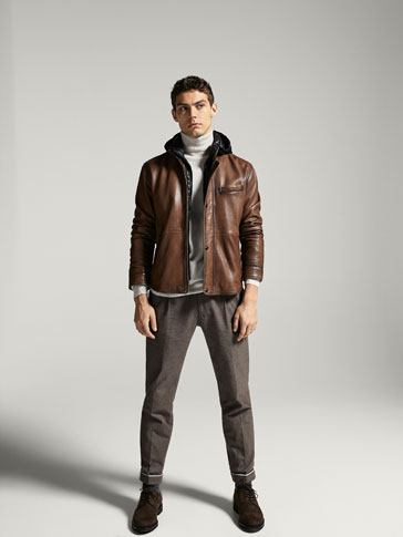 BROWN NAPPA JACKET WITH REMOVABLE HOOD
