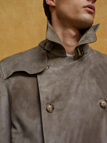 LIMITED EDITION GREY SUEDE TRENCH COAT