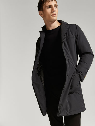 BLACK TECHNICAL TRENCH COAT