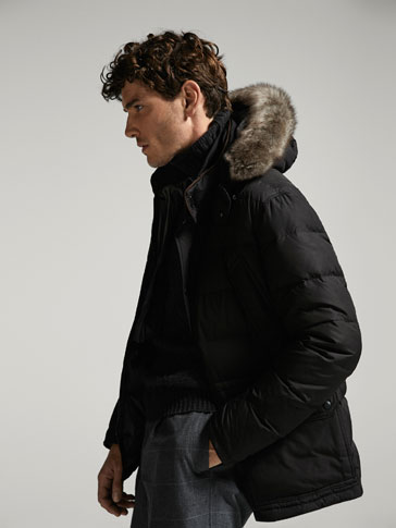 THREE QUARTER LENGTH DOWN COAT WITH TUSCAN FUR DETAIL
