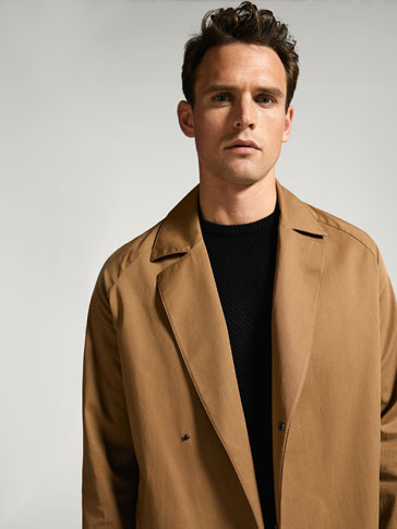 BROWN COTTON TRENCH COAT