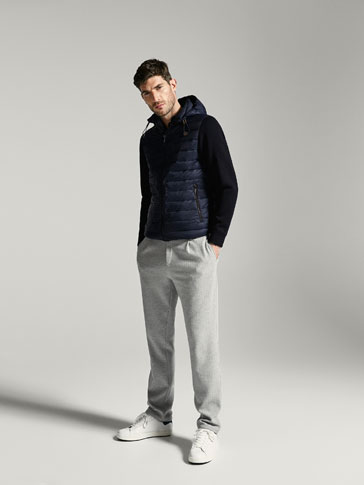 TECHNICAL JACKET WITH CONTRASTING KNIT