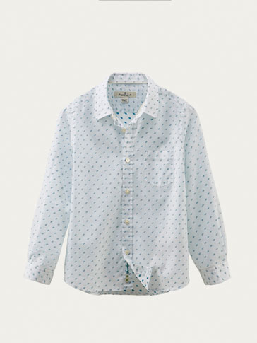 COTTON SHIRT WITH DOTTED MESH DETAIL