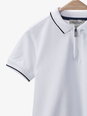 ZIP-UP POLO SHIRT WITH CONTRASTING STRIPES