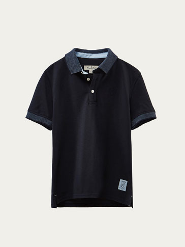 NAVY BLUE POLO SHIRT WITH CONTRASTING TRIMS