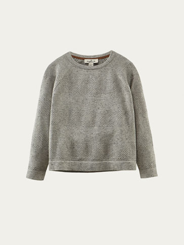 FLECKED SWEATER WITH TEXTURED WEAVE DETAIL