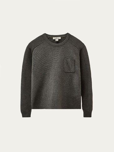 SWEATER WITH CONTRASTING TEXTURED WEAVE