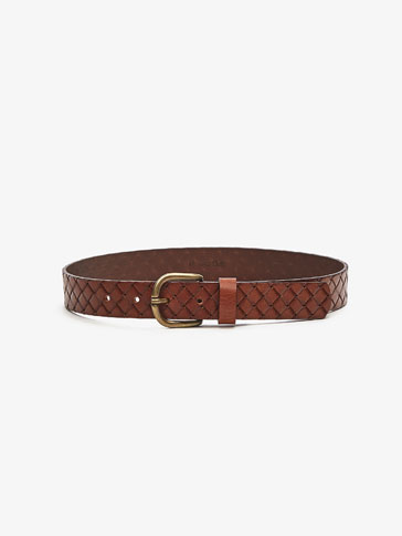EMBOSSED BRAIDED LEATHER BELT