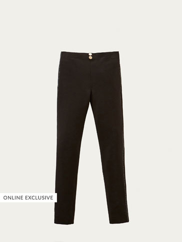 KNIT TROUSERS WITH GROSGRAIN DETAIL