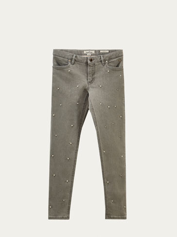 SLIM FIT JEANS EMBELLISHED WITH PEARL BEADS