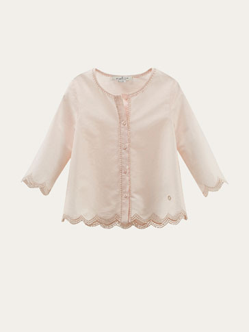 PINK SHIRT WITH LACE TRIMS