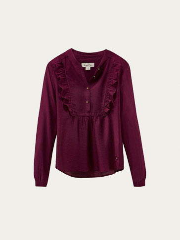 SILK BLOUSE WITH RUFFLE TRIMS