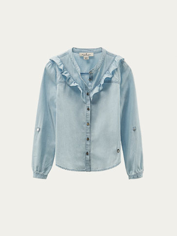 DENIM SHIRT WITH RUFFLE