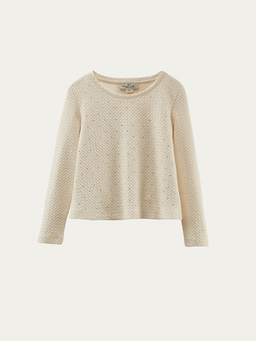 TEXTURED WEAVE SWEATSHIRT WITH RHINESTONE DETAIL