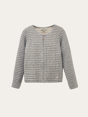 TEXTURED WEAVE SWEATSHIRT WITH SHIMMERY DETAIL