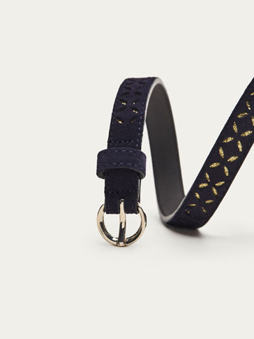 LEATHER BELT WITH GOLDEN DETAILS
