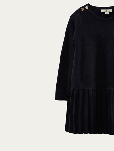 KNIT DRESS WITH PLEATED SKIRT
