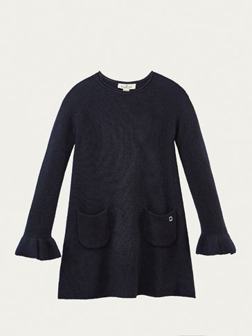 KNIT DRESS WITH RUFFLE TRIMS