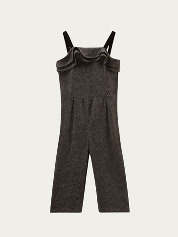 CONTRAST JUMPSUIT WITH RUFFLE TRIMS