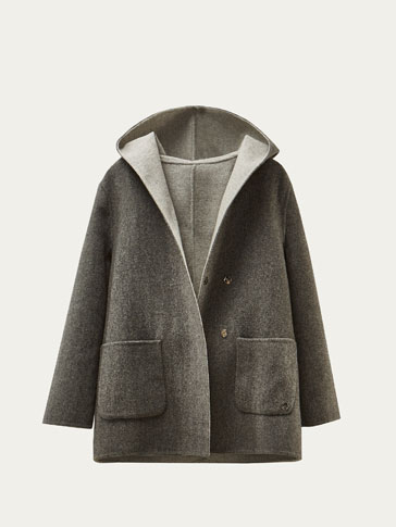 REVERSIBLE WOOL COAT WITH HOOD