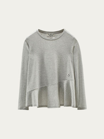 SHIMMERY T-SHIRT WITH RUFFLED TRIM
