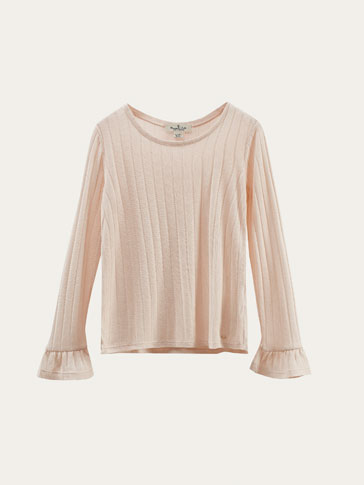 RIBBED T-SHIRT WITH RUFFLE DETAIL