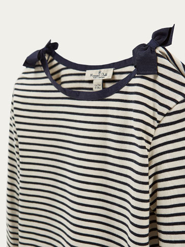 STRIPED T-SHIRT WITH BOWS DETAIL